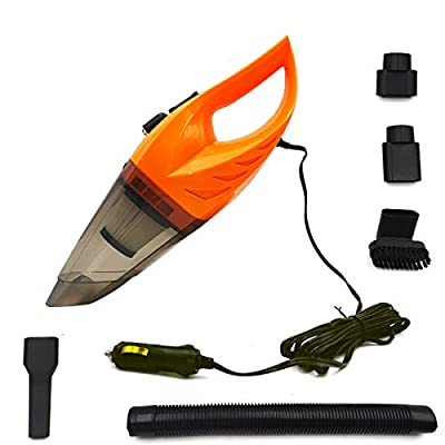 CYCLENPO Car Handheld Vacuum Cleaner(120W) Wet& Dry Strong Suction Portable Dust Cleaner Buster with Cigarette Lighter Plug 16.4ft Power Cord (Orange): Automotive