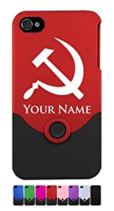 iPhone 4/4S Case/Cover - HAMMER AND SICKLE, COMMUNIST - Personalized for FREE (Click the CONTACT SELLER button after purchase and send a message with your case color and engraving request)