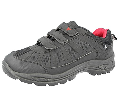 Foster Footwear Mens Ladies Hiking Trail Walking Trekking Style Triple Touch Close Strap Trainers Shoes Size 3-12 Black/Red 6RWS3bI