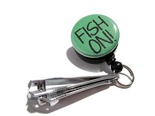 ATLanyards Fish On! Fishing Line Clippers, Fishing Cutters, Fishing Nippers, Father's Day Gift, Dark Green 310