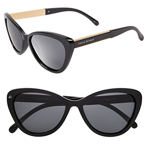 "PRIVÉ REVAUX ICON Collection ""The Hepburn"" Handcrafted Designer Polarized Retro Cat-Eye Sunglasses (Black)"