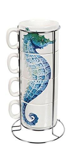 Mug Blue Stacking (Seahorse Ceramic Stacking Mug Set of 4 with Rack)