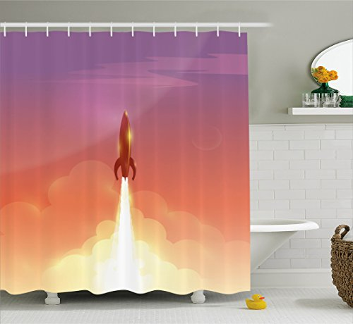 Ambesonne Outer Space Shower Curtain by, Illustration of Retro Rocket Flying to Sky Technology and Galaxy Theme, Fabric Bathroom Decor Set with Hooks, 70 Inches, Salmon and -