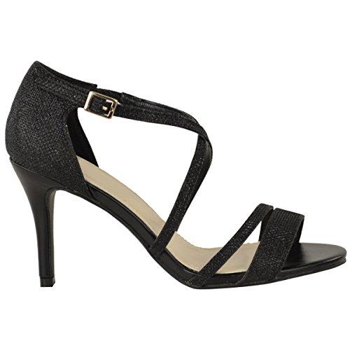Strass con Taglia Fashion Matrimonio Piccolo Stiletto Nero Basse Tacchi Ballo Donna Thirsty Sandali Party Cinturino 0wqO0T7U