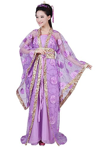 springcos Chinese Costume Fancy Dress Women Princess Dress Trailing Empress Purple (Chinese Cinderella The Story Of An Unwanted Daughter)
