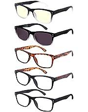 EFE leesbril 5-pack mannen vrouwen om te lezen Heldere bril Vergrotende lezing met veerscharnier Ontwerp Rechthoekige stijl Lichtgewicht Comfortabel
