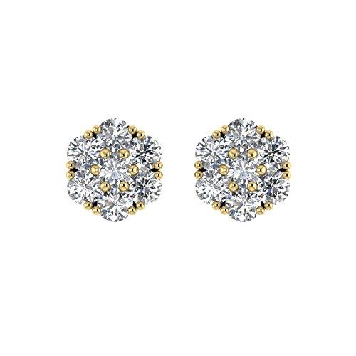 Diamant Delight Veste de 10K boucles d'oreille Clous en forme de fleur (I1-I2, 3/4carat)