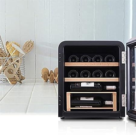 Gabinete de Vino de 24 Botellas, refrigerador de encimera, gabinete de Vino pequeño, Bodega Independiente, Control de Temperatura, Negro (Color : Black, Size : 44 * 47.5 * 50cm)
