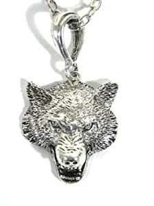 Gray Wolf Necklace Fierce Canine Howl Coyote NK41 Silver Tone Vintage Wildlife Pendant