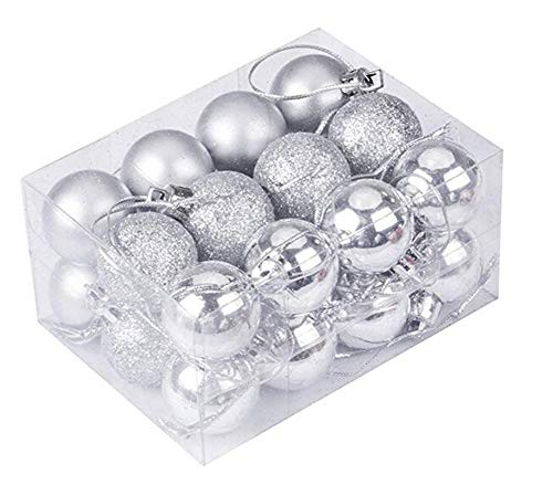 Icemaris 24PCS Christmas Tree Ball Baubles Hanging Ornament Wedding Decoration Colored Hanging Balls (Silver)