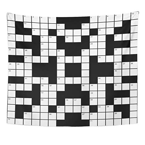 Semtomn Tapestry Artwork Wall Hanging Cross Crossword Puzzle Word Pattern Blank White Black Detail 50x60 Inches Tapestries Mattress Tablecloth Curtain Home Decor Print -