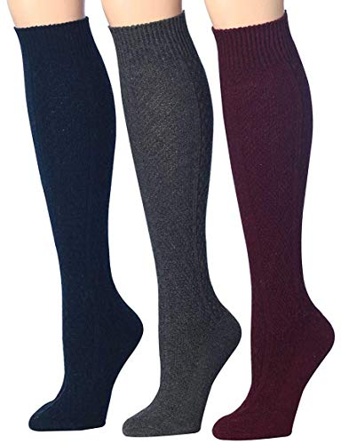 Acrylic Wool Knit (Tipi Toe Women's 3-Pairs Ragg Marled Argyle Knee High Wool-Blend Boot Socks, (sock size 9-11) Fits shoe size 6-9, WK01-B)