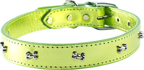 (OmniPet Signature Leather Dog Collar with Bone Ornaments, Metallic Lime Green, 24