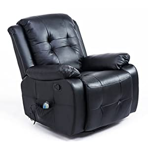 Massage Sofa Recliner Rocking Swivel Lounge Heated Leather Black Electric