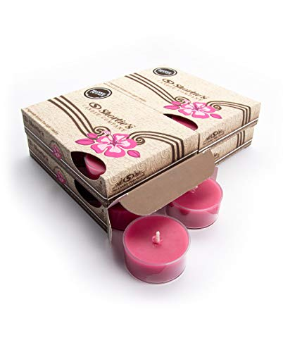 Rose Petals Tealight Candles Bulk Pack (24 Pink Highly Scented Tea Lights) - Made with Natural Oils - Clear Cup for Beautiful Candlelight - Flower & Floral Collection