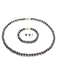 """14k Yellow Gold 6-6.5mm Freshwater Cultured Pearl Necklace 18"""", 7"""" Bracelet and Stud Earrings Set"""