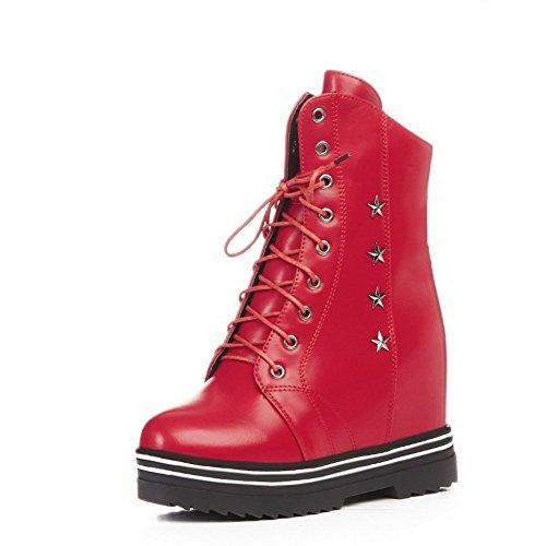 AllhqFashion Damen Eingelegt Rund Zehe Hoher Absatz Stiefel mit Metalldekoration, Rot, 41