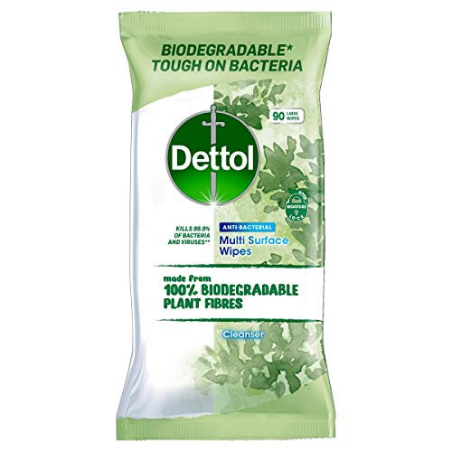Dettol Wipes Biodegradable Antibacterial Multi Surface Cleaning, 90 Wipes
