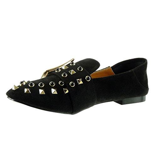 Mocassins High Fashion cm Women's Thong Shoes Block 1 Angkorly on Buckle Black Slip Heel Studded Rqt5vxnOwa