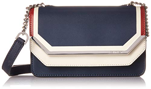 Calvin Klein Tessie Calf Split Leather Flap Over Small Crossbody, navy combo