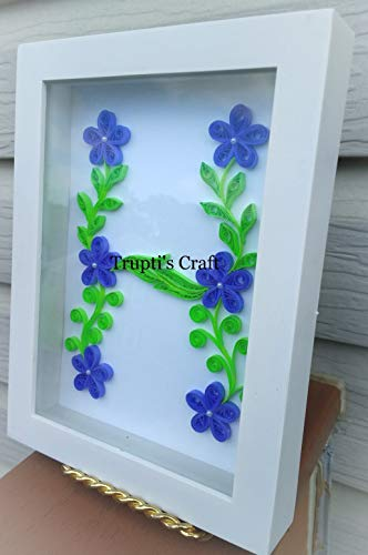 Paper Quilling Monogram 'H' Wall Frame/Wall Hanging/Home Decor/Gift / Children Room Decor/Monogram / Paper Quilling Gift by Trupti's Craft (Image #3)