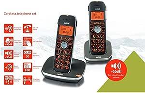 Kit Duo Twin de teléfonos inalámbricos amplificados para personas mayores, teclas grandes XL, amplia pantalla XL, volumen de voz amplificado a 30 dB y sonidos amplificados a 80 dB, volumen alto, compatible