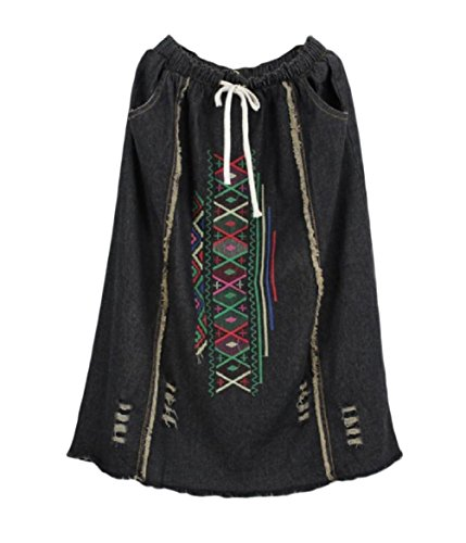 Coolred-Women Ripped Hole Chinese Style Embroidered Patchwork Maxi Skirt Black One-Size - Embroidered Patchwork Skirt