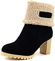 Women's Warm Fur Snow Ankle Boots Platform Suede Round Toe Chunky Block High Heel Winter Short Boo