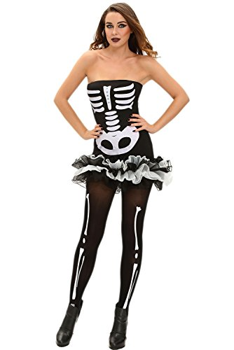 Sexy Cheap Halloween Costumes Ideas (Women's Sexy Seductive Fever Skeleton Halloween Costume with Dress and Gloves Glow In The Dark)