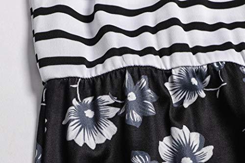 Mujeres de de 2018 Playa Zolimx Atractivas Ocasionales Mangas de Sin Boda Vestidos Mujer Verano Mangas Verano Negro Largo Fiesta Faldas Raya Largos Sin nUgw7qgH