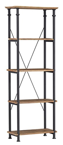 Homelegance Factory 4-Teir Bookcase, Rustic Brown - Vintage industrial style bookcase or shelving unit Burnished rustic brown finished poplar wood shelf Black wrought iron style finished steel tube - living-room-furniture, living-room, bookcases-bookshelves - 41zjf9NnnuL -
