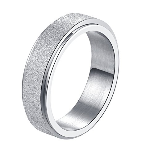 - ALEXTINA Women's 6MM Silver Stainless Steel Spinner Ring Sand Blast Finish Comfort Fit Size 8