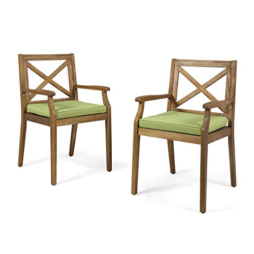 Great Deal Furniture | Peter | Outdoor Acacia Wood Dining Chair with Cushion | Set of 2 | Teak/Green Review