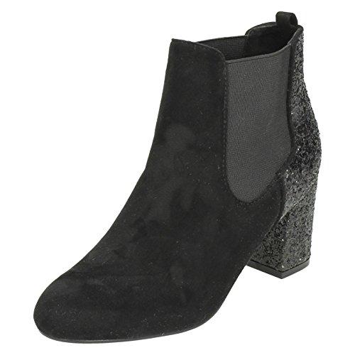 F50682 Ladies Effect Ankle Glitter Michelle Black Boots Microfibre Anne qxnqBr0Z
