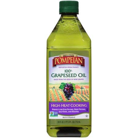 Imported 100% Grapeseed Oil, Non-GMO and Perfect for Stir Frying, Deep Frying, Sauteing, and Baking, 24 fl. oz. Bottle, Pack of 4 by Pompeian