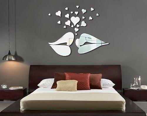 3D Home Art Mirror Wall Sticker Love Hearts//Lip Room Decal Mural Decor FO