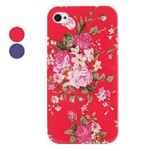 Flower Pattern Style Back Case for iPhone 4 and 4S (Assorted Colors) --- COLOR:Blue