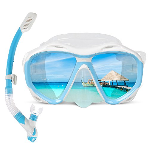 COPOZZ Snorkel Mask, Snorkeling Scuba Dive Glasses, Free Diving Tempered Glass Goggles - Optional Dry Snorkel with Comfortable Mouthpiece (4260 Blue Set)