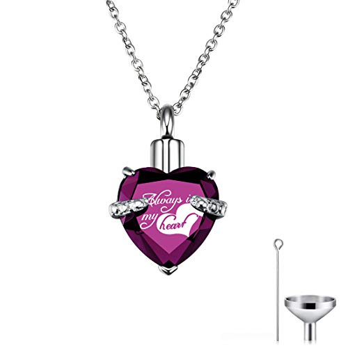 CAT EYE JEWELS Memorial Urn Necklace Always in My Heart Birthstone Keepsake with Funnel Kit Purple