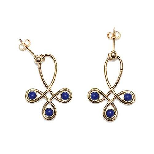 Gold Lapis Lazuli Stud Earrings/Post Earrings, Lapis Lazuli Earring, Earring ()