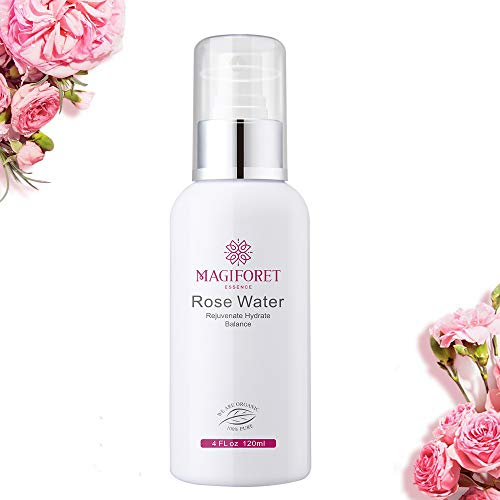 Rose Water Spray 4 oz, MagiForet Rose Water Toner Spray, 100% Organic Distilled Rose Hydrosol Therapeutic Grade Rose Water for Face Hair Acne Rosewater Facial Spray Alcohol Free with Face Mask ()