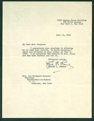Carlos P. Romulo, Philippine Diplomat, Typed Letter, COA