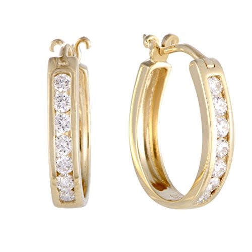 0.5 Carat (ctw) Diamond Channel Horseshoe Hoop Earrings in 14K Yellow Gold; 1/2 CT White Diamonds (G Color, SI1-SI2 Clarity) in 0.75'' Hoops by Luxury Bazaar