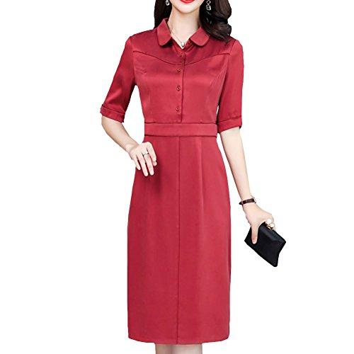 Gestreift Midi S2826 Kleid Rot Kleider Cocktail E girl Abendkleid Damen Übergröße Seide qnARcxFtWw