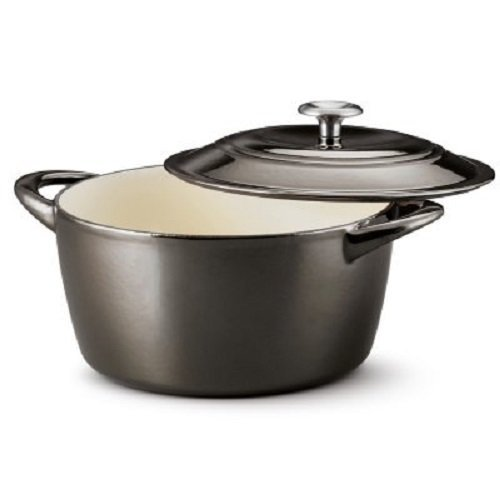Tramontina 80131/664DS Enameled Cast Iron Covered Round Dutch Oven, 6.5 Quart