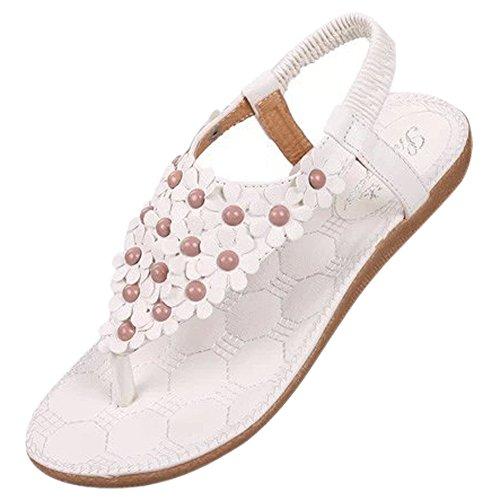 SODIAL New Flip-flop sandals open toe flip Women shoes flat flats bohemia flower beaded soft outsole sweet for Women 668 white US7.5=EUR38=feet length 24CM