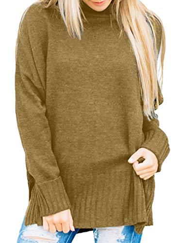 Dokotoo Womens Sweater Vintage Winter Fall Warm Basic Solid Loose Oversized Long Cuffed Sleeve Casual High Neck Knit Sweater Pullover Top X-Large