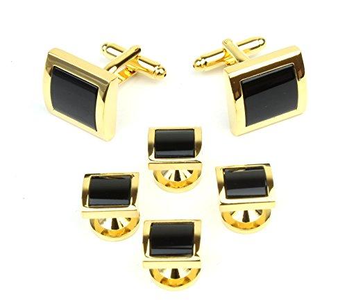 Square Gold Tone and Black Men's Tuxedo Cufflinks and Dress Shirt Studs Set - Classic Formal Attire