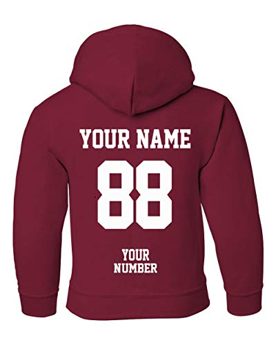 Custom Hoodies for Youth - Design Your OWN Jersey - Pullover Hooded Team Sweaters Cardinal Red ()