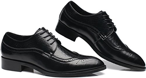 PPXID Mens Classic Modern Cap Toe Oxford Lace Up Dress Shoes(Big Size Available) Black 7cAyznZc
